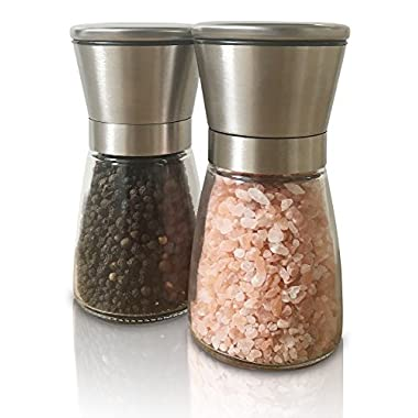Best Salt and Pepper Grinder Set with Adjustable Coarseness. Suitable for Use As Spice Grinders - Salt Mill and Pepper Mill with Smooth Glass Body