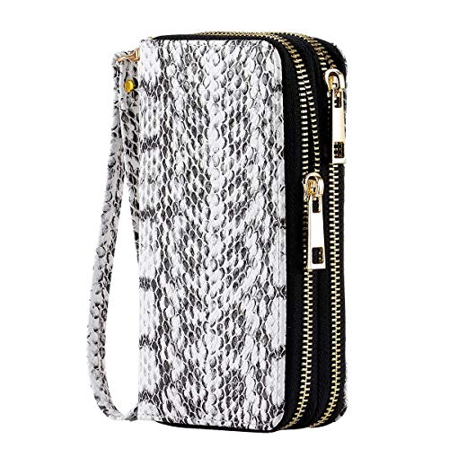 HAWEE Cellphone Wallet Dual Zipper Wristlet Purse with Credit Card Case/Coin Pouch/Smart Phone Pocket Soft Leather for Women or Lady, SnakeSkin White