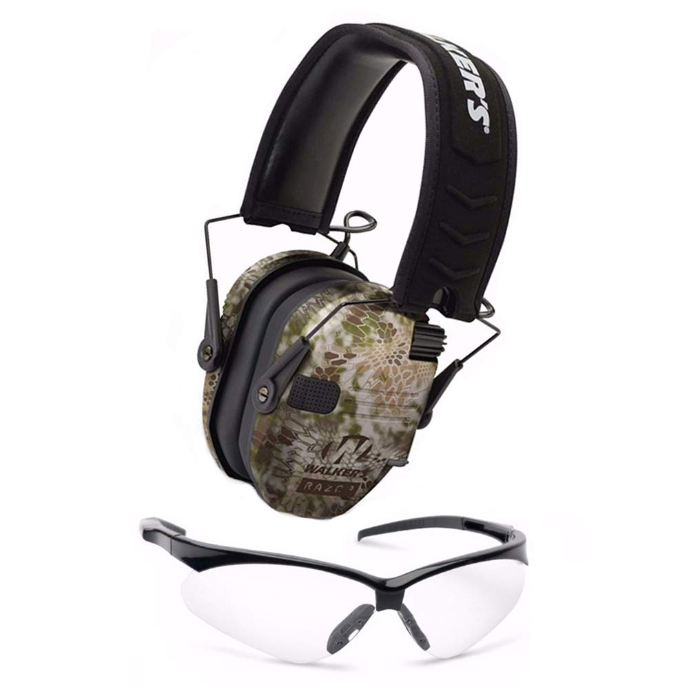 Walkers Razor Slim Electronic Hearing Protection Muffs with Sound Amplification and Suppression and Shooting Glasses Kit (Kryptek Camo) by Walkers (Image #1)