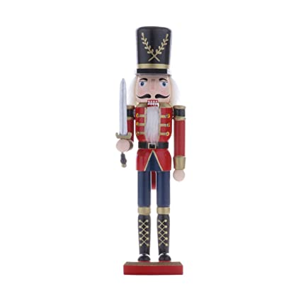 freebily wooden soldier nutcracker christmas desktop decoration soldier with sword one size