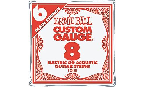 Ernie Ball Nickel Plain Single Guitar String .008 Gauge 6-Pack