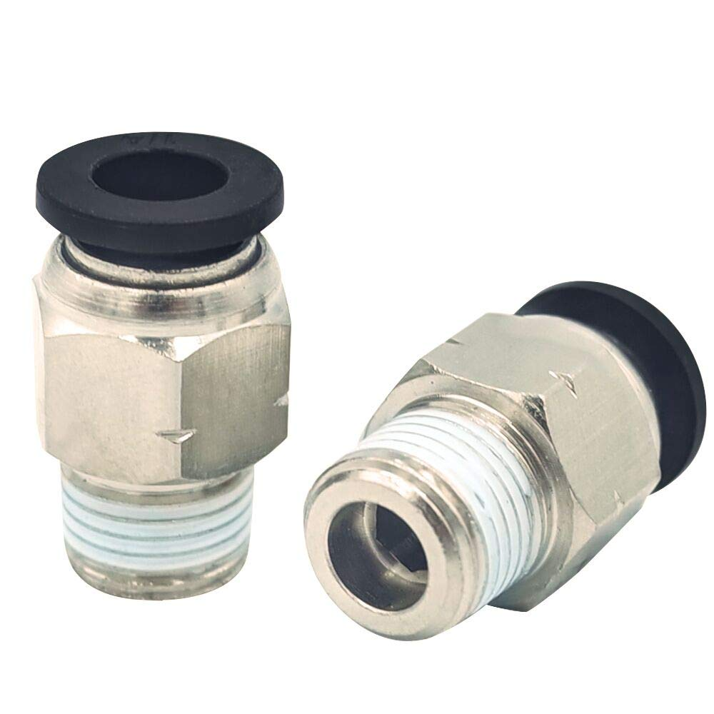 Tailonz Pneumatic Male Straight 3/8'' Tube OD x 1/4'' NPT Thread Push to Connect Fittings PC-3/8-N2 (Pack of 10)