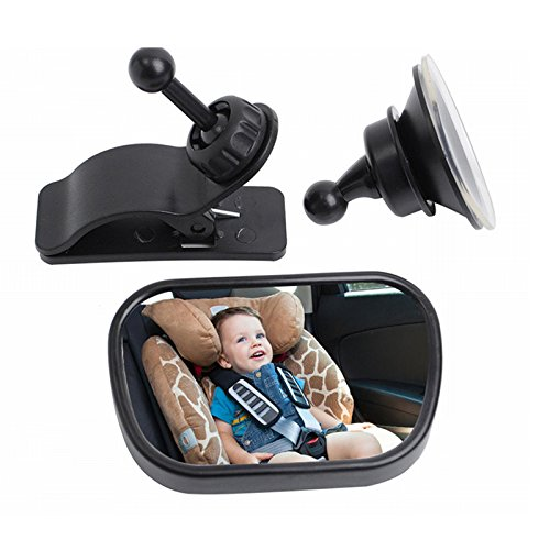 FJROnline Baby Car Mirror Rear Facing, Adjustable Safest Rear View Back Seat Mirror Convex Shatterproof with Sucker and Clip for Baby Infant Toddler - Unbreakable Security Surface