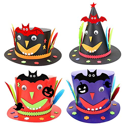 Cardboard Hat Halloween with Bat Pumpkin Ghost Festival Birthday Performance Props Kindergarten Magician's DIY Hat Handmade Craft Creative Gifts 4 Pack for -