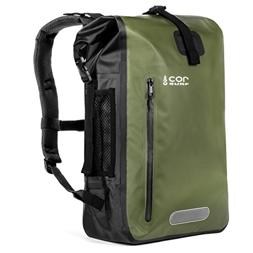Cor Waterproof Dry Bag Backpack with Padded Laptop Sleeve 40 Liter Green