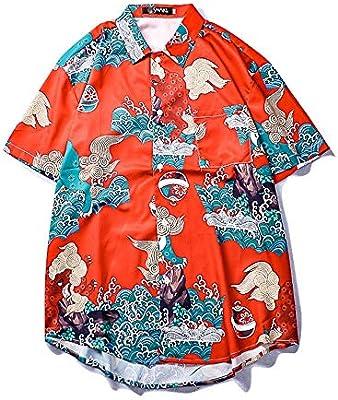 Zhongsufei Camisa de Vestir para Hombre Camisa Informal Camisa Hawaiana para Hombre Top Camiseta de Manga Corta Camisa de Flores de Fiesta en la Playa de Aloha Camisas Casuales de Fiesta: Amazon.es:
