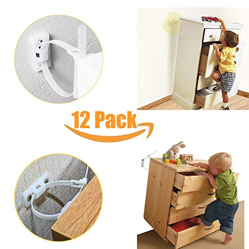 Furniture Straps Baby Proofing Anti Tip Walls (12 Pack) Proofing Anchors Kit Adjustable Child Safety Earthquake Straps with Cabinet Wall Anchors for Secure Bookshelf, Cabinet, Dresser