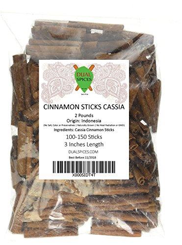 Dualspices Cinnamon Sticks 2 Pounds ~ 100 to 150 Sticks 3 Inches Length Cassia Cinnamon
