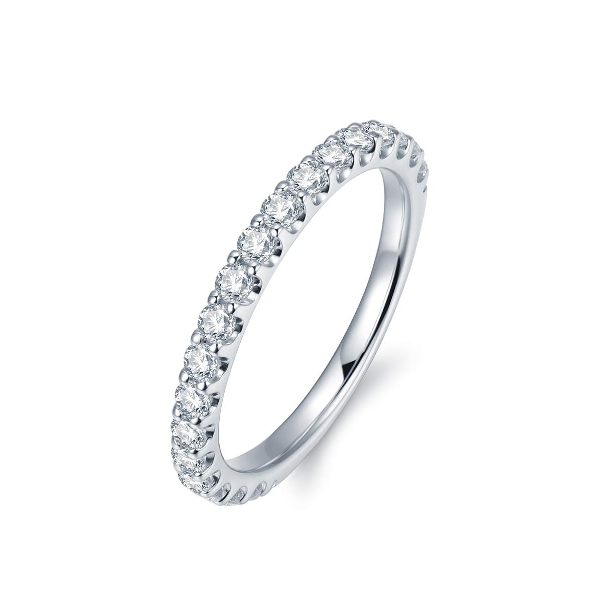3mm Rhodium Plated Sterling Silver Simulated Diamond Cubic Zirconia CZ Half Eternity Wedding Ring (9) by Hafeez Center (Image #2)