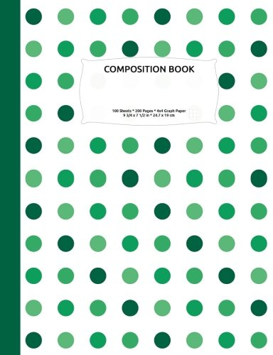 Download Shades of Green Polka Dot Composition Notebook, Graph Paper: 4x4 Quad Rule Grid Student Exercise Book for Math & Science ebook