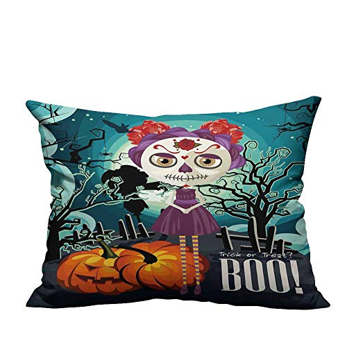 RuppertTextile Breathable Pillowcase Cartoon Girl with Sugar Skull Makeup Retro Seasonal Artwork Swirled Trees Boo Soft and durableW19 x L19 -
