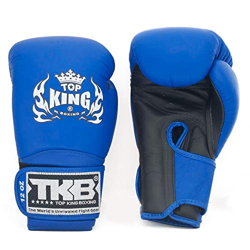 KINGTOP Top King Gloves for Training and Sparring Boxing, Muay Thai, Kickboxing, MMA (TKBGSV - Black/Blue/Blue,14 oz)
