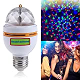 LED Disco Party Bulb, MINO ANT E27 Full Color Rotating Lamp Crystal Stage Light for DJ Bars Birthday Party with Sound-Activated, Ball Bulb Multi-Color Changing