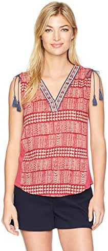 Lucky Brand Women's Red Geo Embroidered Top
