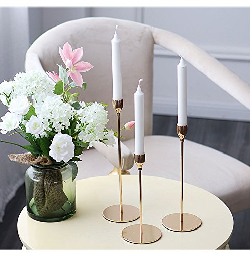Genteltimes New Modern Style Gold Metal Candle Holders Wedding Decoration Bar Party Home Decor Candlestick (3PCS/LOT)