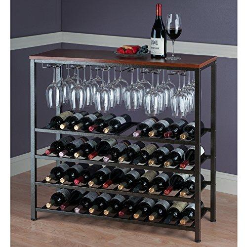 Amazoncom Winsome Wood 87438 Ww Michelle Wine Storage Antique