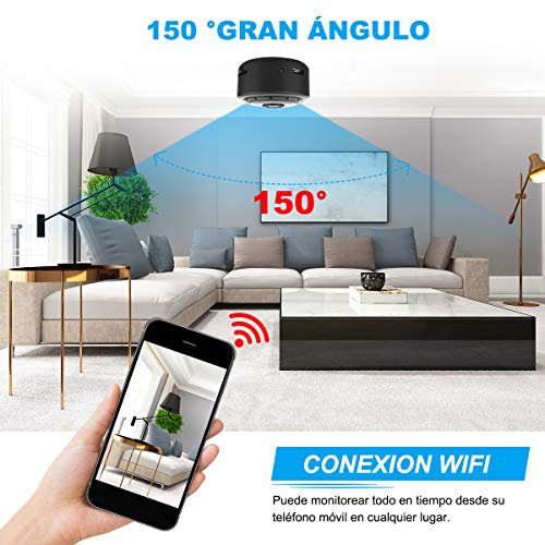 RIRGI Mini Camara Espía Oculta con WiFi Remota, con Detector de Movimiento IR Visión Nocturna, Camaras de Seguridad Pequeña Interior/Exterior