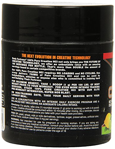 Body Fortress 100% Pure Creatine HCL, Lemon Lime, 100 Gram