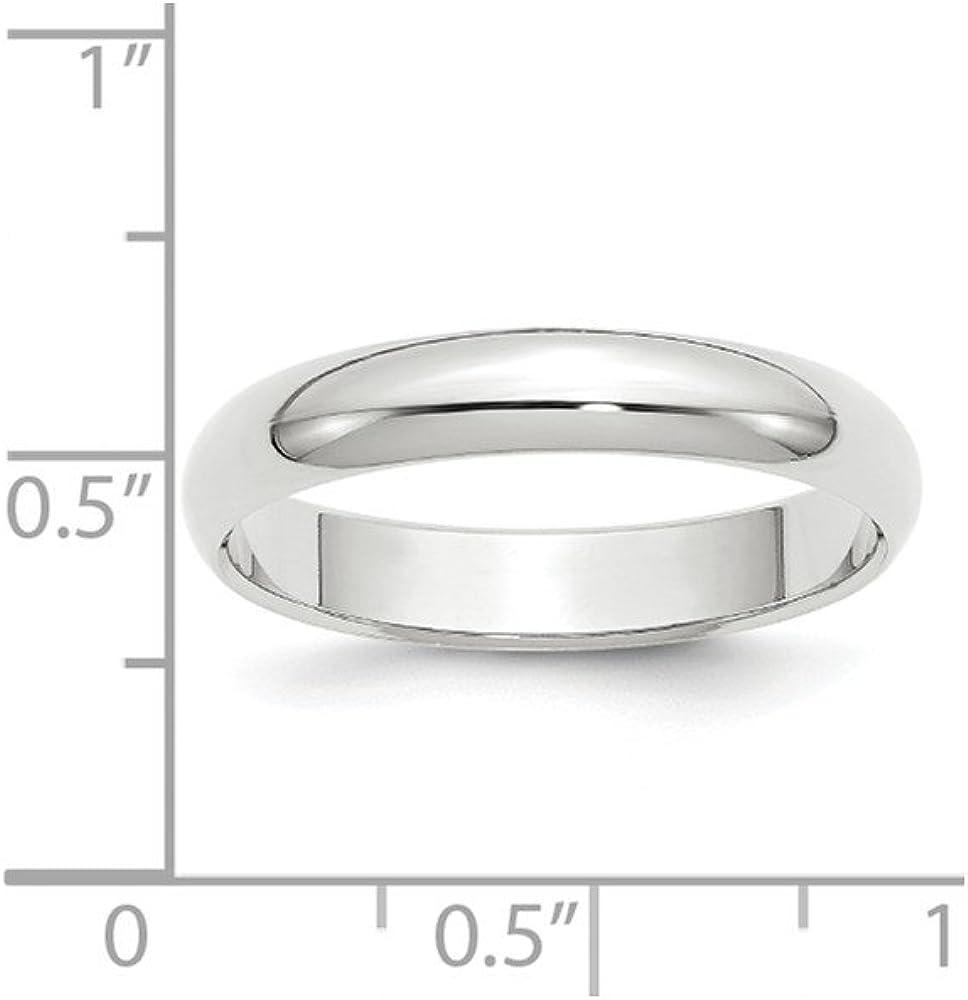 Jewel Tie 14k White Gold 4mm Half-Round Wedding Band