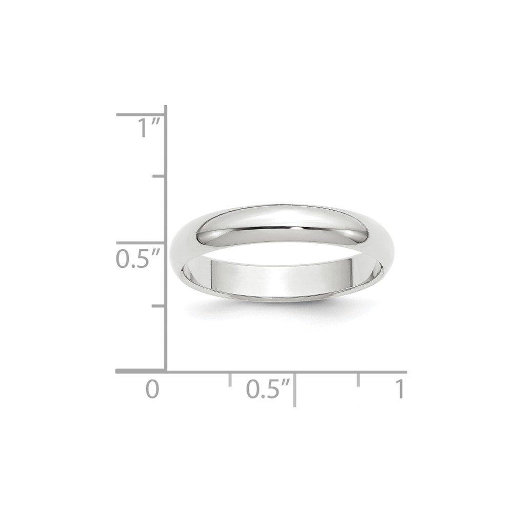 14K White Gold 4mm Half-Round Band Ring