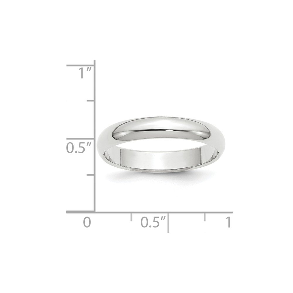Size 8 - Solid 14k White Gold 4mm Half-Round Wedding Band by Sonia Jewels (Image #3)
