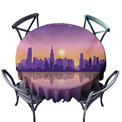 (VIVIDX Custom Tablecloth,Chicago Skyline,Sunset in Illinois American Horizon Behind High City Silhouettes,Party Decorations Table Cover Cloth,70 INCH,Purple Apricot)