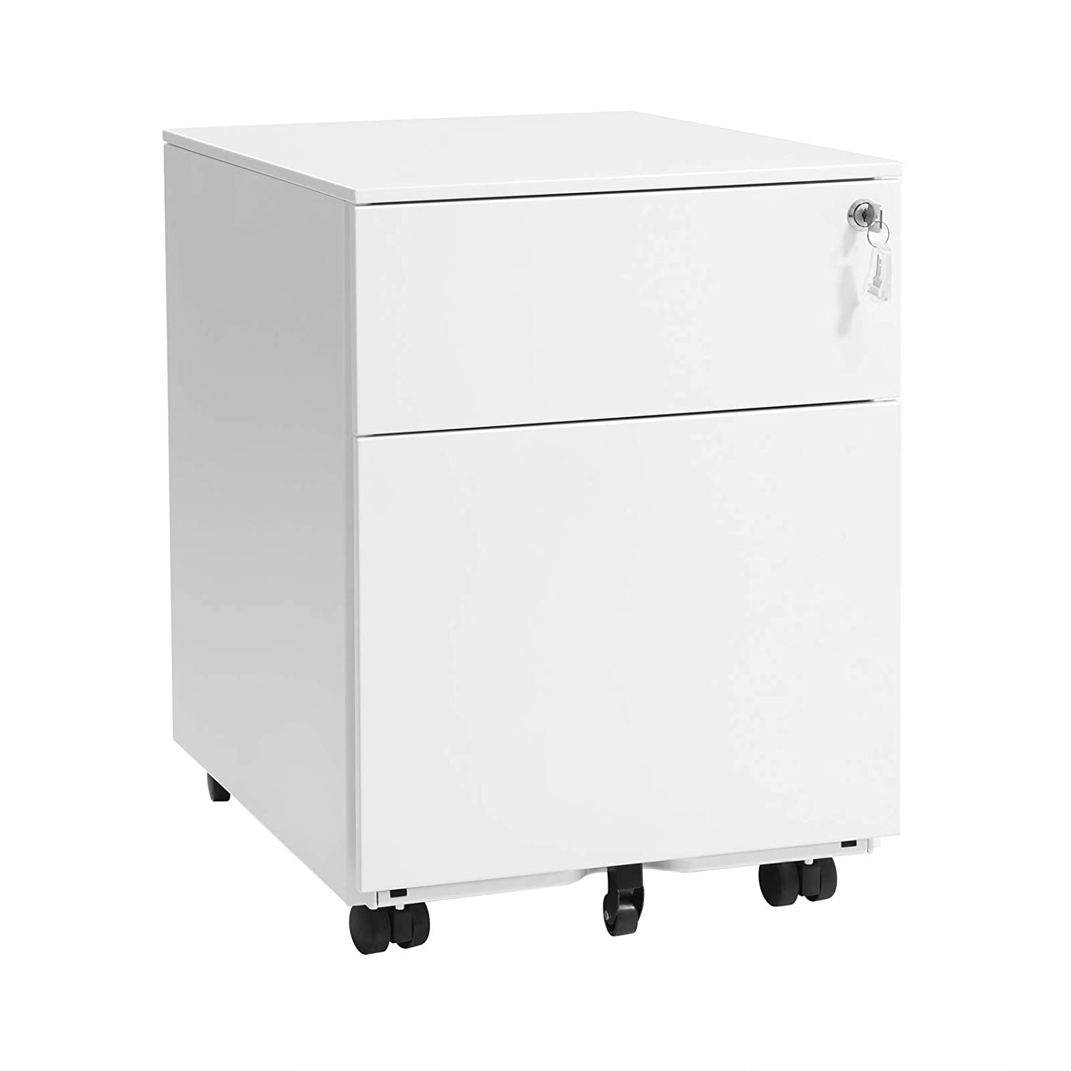 SONGMICS Mobile File Cabinet with 2 Drawers Lockable Steel Pedestal with Suspension File Hanging Rails,Fully Assembled Except Casters, Black OFC50BK