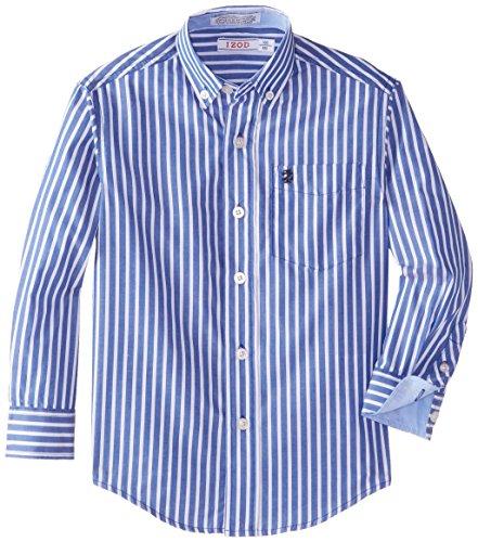 IZOD Little Boys' Long Sleeve Stripe Oxford Shirt, Blue, X-Large Boys Stripe Oxford