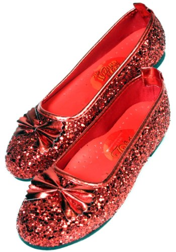 Dorothy Halloween Shoes (Wizard of Oz Child's Deluxe Dorothy Ruby Red Slippers, Large)