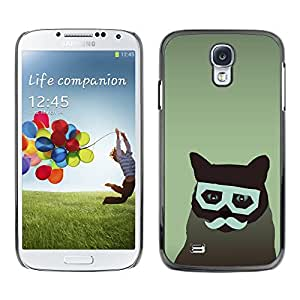 KOKO CASE / Samsung Galaxy S4 I9500 / gato arte inconformista gafas bigote felino / Delgado Negro Plástico caso cubierta Shell Armor Funda Case Cover