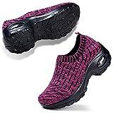 Women's Tennis Shoes Lightweight Athletic Sport Gym Slip on Wide Width Walking Loafer Sneakers Rose 7