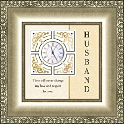 AT001 Catholic & Religious Framed Table Clock General Verse - Husband