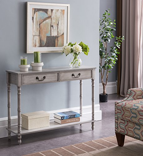 Kings Brand Furniture - 2 Drawer Wooden Hall Console Sofa Table, Washed Oak Finish