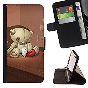 DEVIL CASE - FOR HTC One M7 - Teddy Bear Sad Lonely Broken Heart Red - Style PU Leather Case Wallet Flip Stand Flap Closure Cover