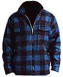 Woodland Supply Co. Men's Heavy Warm Fleece Sherpa Lined Zip Up Buffalo Plaid Jacket (Large, Dark Blue)