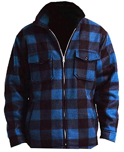 Woodland Supply Co. Men's Heavy Warm Fleece Sherpa Lined Zip Up Buffalo Plaid Jacket,Large,Dark Blue