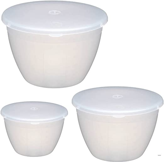 Amazon Com Kitchencraft Plastic Pudding Basin Set Of 3 Largest Kcpud1 Kcpud2 Kcpud3 Kitchen Dining