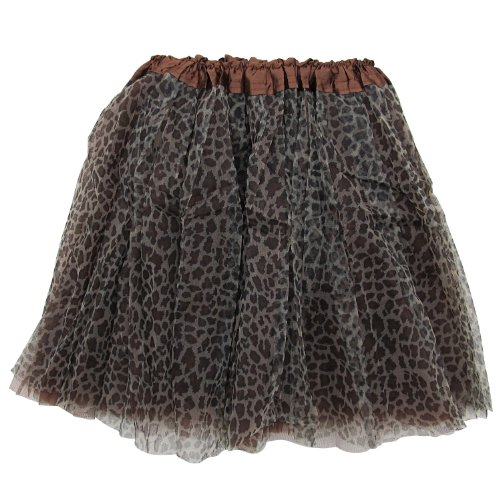 (So Sydney Adult Size 3-Layer Tutu Skirt - Princess Costume Ballet Party Warrior Dash/Run (Cheetah (Leopard)),One)