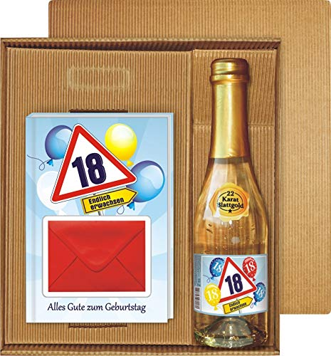 Geldgeschenk Buch Alles Gute zum 18. Geburtstag im Geschenke Set mit Piccolo Sekt 22 Karat Blattgold Goldflocken Gold 0…