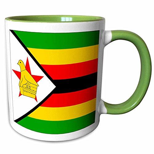 Zimbabwe Mug - 3dRose 31612_7 Zimbabwe Flag Ceramic Mug, Green/White