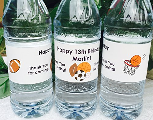 Sport Theme Party Ideas (20 Personalized SPORTS Themed Waterproof Water Bottle Labels/Stickers for Boy's BIRTHDAY Party - Make adorable favors!)