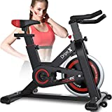 Dripex Upright Exercise Bikes (Indoor Studio Cycles) - Studio Quality with Heart Rate Monitor, Large Bidirectional Flywheel, Belt Drive, Infinite Resistance, LCD Displays, Hand Pulse【2019 Model,932】