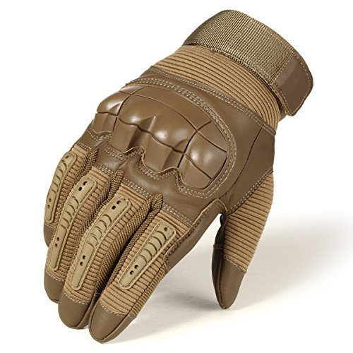 JIUSY Army Military Tactical Touch Screen Rubber Hard Knuckle Full Finger Gloves for Combat Motorcycle Motorbike Hunting Hiking Airsoft Paintball Riding Size Brown Large