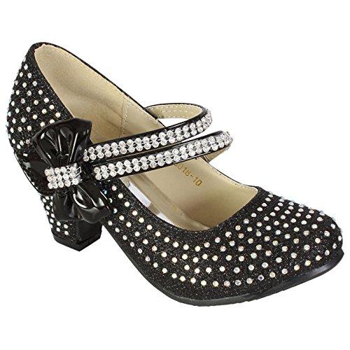 MyShoeStore - Zapatos de boda para niña, con diamantes de imitación, estilo Mary Jane, de tacón bajo Black / Bow