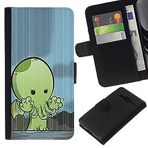 KingStore / Leather Etui en cuir / Samsung Galaxy Core Prime / Monstruo Kraken linda criatura;
