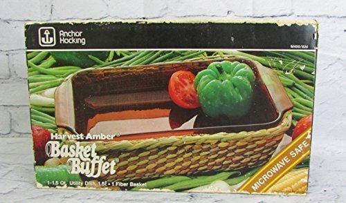 Vintage Anchor Hocking Harvest Amber Basket Buffet 1.5qt Glass Baking Dish
