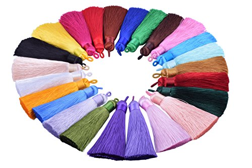 - KONMAY 10pcs 3.4''(8.5cm) Handmade Imitation Silk Tassels with Hanging Loop for Jewelry Making (Mixed Randomly)