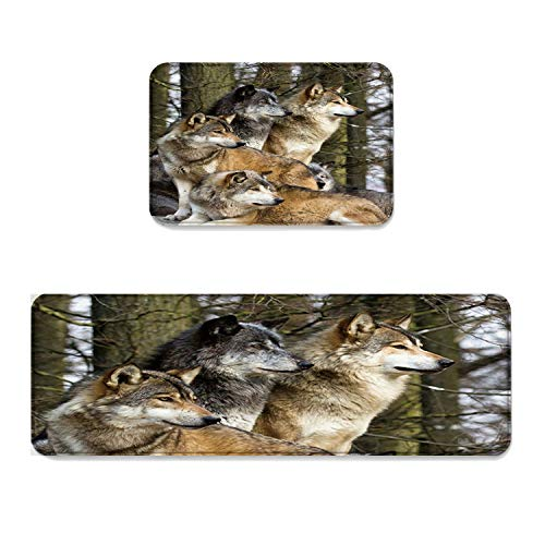 Beauty Decor 2 Piece Non-Slip Kitchen Mat Runner Rug Set Wild Animal Doormat Area Rugs Wolf Family Sit in The Forest Landscape 19.7''x31.5''+19.7''x63'' by Beauty Decor