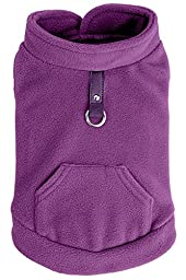 EXPAWLORER Fleece Autumn Winter Cold Weather Dog Vest Harness Clothes with Pocket , Purple Medium