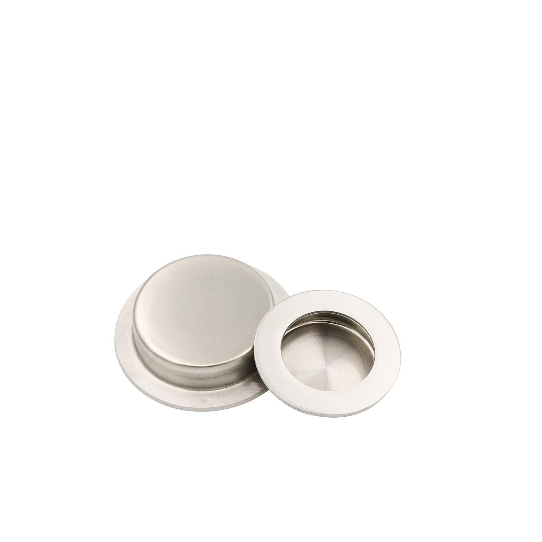 Embellecedor redondo para puerta corredera con tornillos ocultos de Goldenwarm acero inoxidable satinado 50 mm x 65 mm